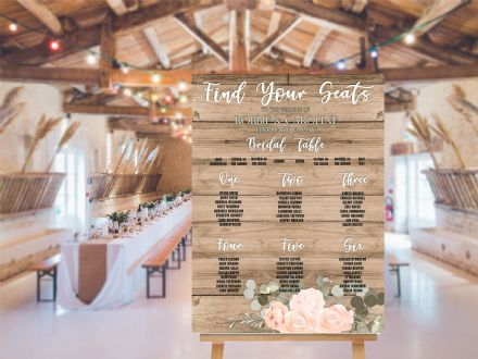 Wedding Table Plan  Planner -  Extra Large  Metal Wall Sign
